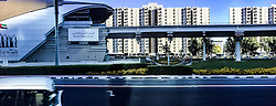An iPhone6 panoramic image on a road, in Dubai. Images from the MSC Musica cruise to the Persian Gulf, visiting Abu Dhabi, Khor al Fakkan, Khasab, Muscat, and Dubai, traveling from 13/12/2015 to 20/12/2015.