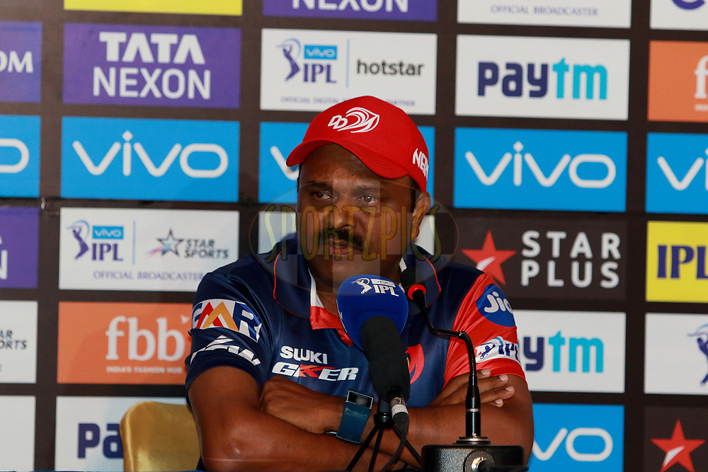 Pravin Amre of DD  at the press conference during match six of the Vivo Indian Premier League 2018 (IPL 2018) between the Rajasthan Royals and the Delhi Daredevils held at the The Sawai Mansingh Stadium in Jaipur on the 11th April 2018.<br /> <br /> Photo by: Rahul Gulati  SPORTZPICS