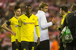 14.04.2016, Anfield Road, Liverpool, ENG, UEFA EL, FC Liverpool vs Borussia Dortmund, Viertelfinale, Rueckspiel, im Bild Trainer Juergen Klopp (FC Liverpool) mit Julian Weigl (Borussia Dortmund #33), Adrian Ramos (Borussia Dortmund #20) und Torwart Roman Buerki (Borussia Dortmund #38) // during the UEFA Europa League Quaterfinal, 2nd Leg match between FC Liverpool vs Borussia Dortmund at the Anfield Road in Liverpool, Great Britain on 2016/04/14. EXPA Pictures &copy; 2016, PhotoCredit: EXPA/ Eibner-Pressefoto/ Schueler<br /> <br /> *****ATTENTION - OUT of GER*****