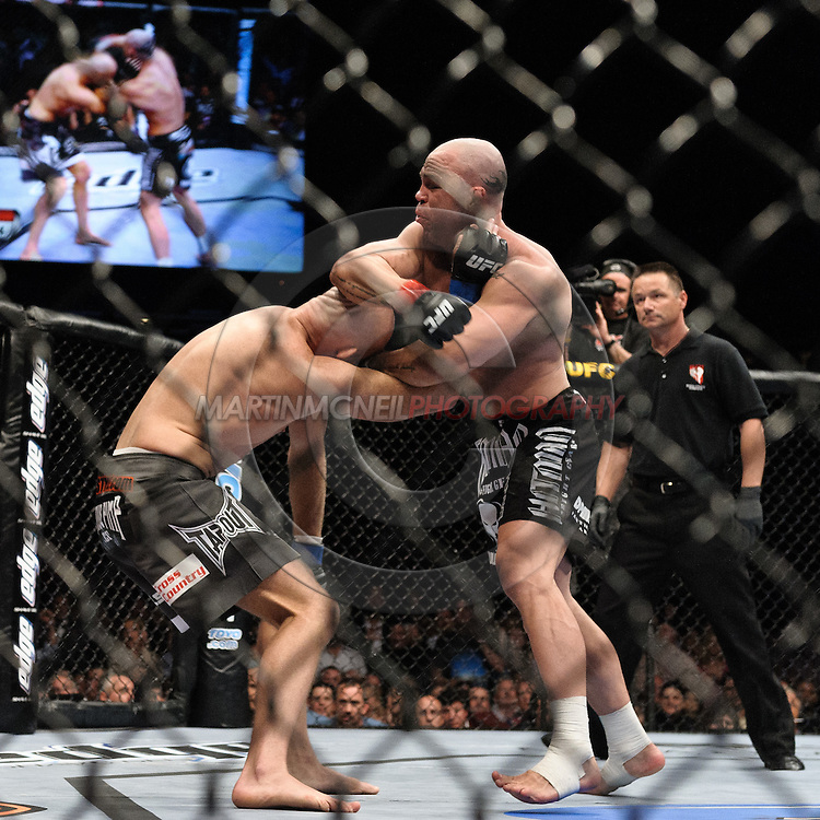 "LAS VEGAS, NEVADA, MAY 24, 2008: Keith Jardine (left) is swarmed on by Wanderlei Silva during ""UFC 84: Ill Will"" inside the MGM Grand Garden Arena in Las Vegas"