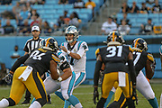Carolina Panthers quarterback Kyle Allen (7) takes the snap against the Pittsburgh Steelers during a NFL football game, Thursday, Aug. 29, 2019, in Charlotte, N.C. The Panthers defeated the Steelers 25-19.  (Brian Villanueva/Image of Sport)