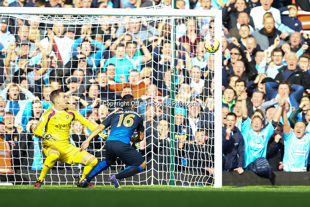 25 October 2014 - Barclays Premier League - West Ham v Manchester City - Sergio Aguero of Manchester City hits the post from close range - Photo: Marc Atkins / Offside.