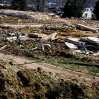 The remains of demolished houses cover a hillside in an Alexandria, VA neighborhood under redevelopment.