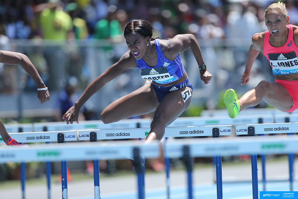Tiffany  Porter, (left), Great Britain and Lolo Jones, USA, in action in the Women's 100m Hurdles during the Diamond League Adidas Grand Prix at Icahn Stadium, Randall's Island, Manhattan, New York, USA. 13th June 2015. Photo Tim Clayton