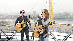 30 Seconds to Mars perform a unique one-off gig at the top of the O2 Arena roof, to promote their new album <br /> Love Lust Faith + Dreams, <br /> In the photo - (L-R) Tomo Milicevic, Jared Leto, <br /> London, United Kingdom<br /> Tuesday, 18th June 2013<br /> Picture by Elliot Franks / i-Images