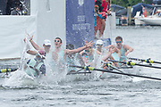 Henley Royal Regatta, 3-7 July 2019.  Eton College, celebrate, after crossing  the Finish Line, to win, the Princess Elizabeth Challenge Cup,Royal Henley Peace Regatta Centenary, 1919-2019. Henley on Thames.<br /> <br /> <br /> <br /> [Mandatory Credit: Patrick WHITE/Intersport Images], 7, 07/07/2019,  12:35:31