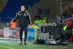 CARDIFF, WALES - Tuesday, August 21, 2014: Wales' manager Jarmo Matikainen during the FIFA Women's World Cup Canada 2015 Qualifying Group 6 match against England at the Cardiff City Stadium. (Pic by David Rawcliffe/Propaganda)