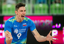 Dejan Vincic of Slovenia reacts during volleyball match between National teams of Slovenia and Portugal in 2nd Round of 2018 FIVB Volleyball Men's World Championship qualification, on May 26, 2017 in Arena Stozice, Ljubljana, Slovenia. Photo by Vid Ponikvar / Sportida