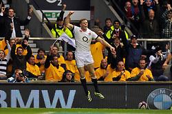 Chris Ashton (England) celebrates scoring a try - Photo mandatory by-line: Patrick Khachfe/JMP - Tel: Mobile: 07966 386802 09/11/2013 - SPORT - RUGBY UNION -  Twickenham Stadium, London - England v Argentina - QBE Autumn Internationals.