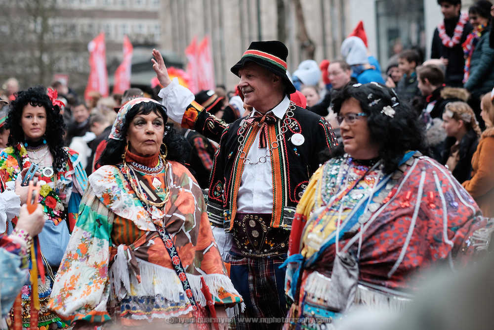 Participants in the traditional Karneval parade in Düsseldorf, Germany on 27 February 2017.