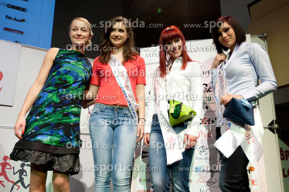 Anja Antic, Ursa Klavs and Anja Antic after event Miss Sports of Slovenia 2012, on April 21, 2012, in Festivalna dvorana, Ljubljana, Slovenia. (Photo by Urban Urbanc / Sportida.com)