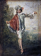 L'Indifferent' (The Gallant: The Flirt) Oil on Canvas. Jean-Antoine Watteau (1684-1721) French painter.  Fashion Male Stocking Breeches Shoe Cloak Ruff Fabric Satin Velvet