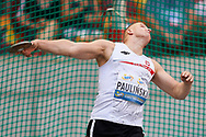 Poland, Warsaw - 2017 August 15: Paraolympian Tomasz Paulinski of Poland competes in men's discus throw during Memorial of Kamila Skolimowska at Stadion PGE Narodowy on August 15, 2017 in Warsaw, Poland.<br /> <br /> Mandatory credit:<br /> Photo by © Adam Nurkiewicz<br /> <br /> Adam Nurkiewicz declares that he has no rights to the image of people at the photographs of his authorship.<br /> <br /> Picture also available in RAW (NEF) or TIFF format on special request.<br /> <br /> Any editorial, commercial or promotional use requires written permission from the author of image.