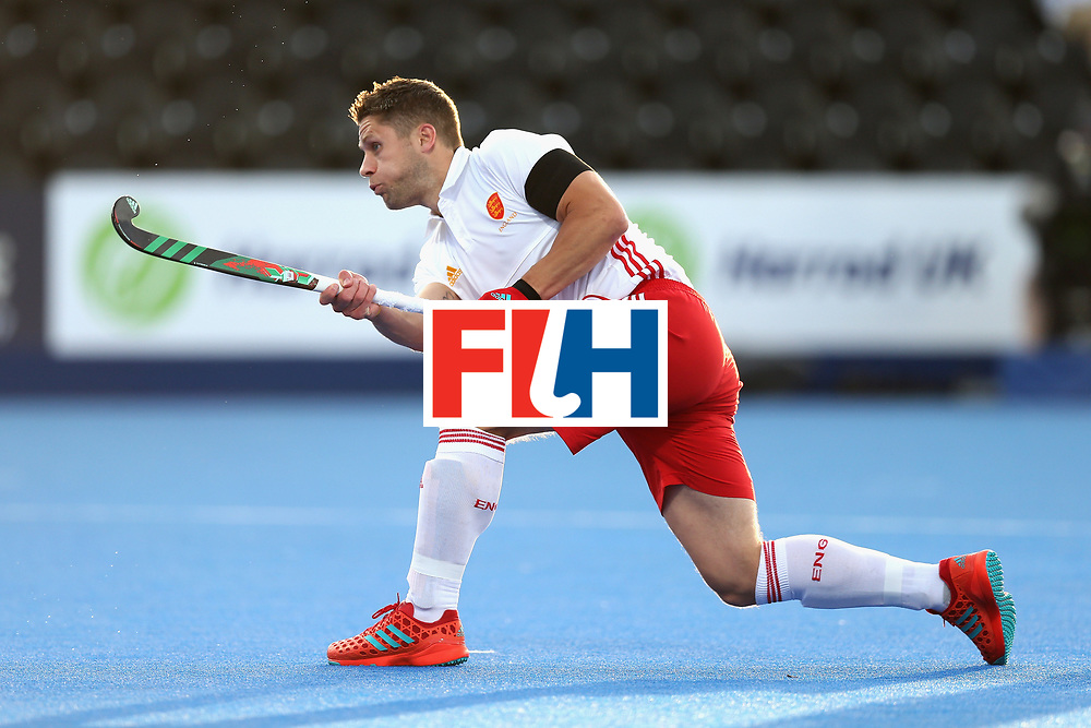 LONDON, ENGLAND - JUNE 15:  Mark Gleghorne of England scores his sides second goal from the penalty spot during the Hero Hockey World League Semi Final match between England and China at Lee Valley Hockey and Tennis Centre on June 15, 2017 in London, England.  (Photo by Alex Morton/Getty Images)