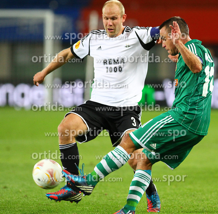 20.09.2012, Ernst Happel Stadion, Wien, AUT, UEFA Europa League, SK Rapid Wien vs Rosenborg Trondheim, Gruppe K, im Bild Mikael Dorsin, (Rosenborg Trondheim, #3) und Steffen Hofmann, (SK Rapid Wien, #11) // during the UEFA Europa League group K match between SK Rapid Vienna and Rosenborg Trondheim at the Ernst Happel Stadion, Vienna, Austria on 2012/09/20. EXPA Pictures © 2012, PhotoCredit: EXPA/ Thomas Haumer