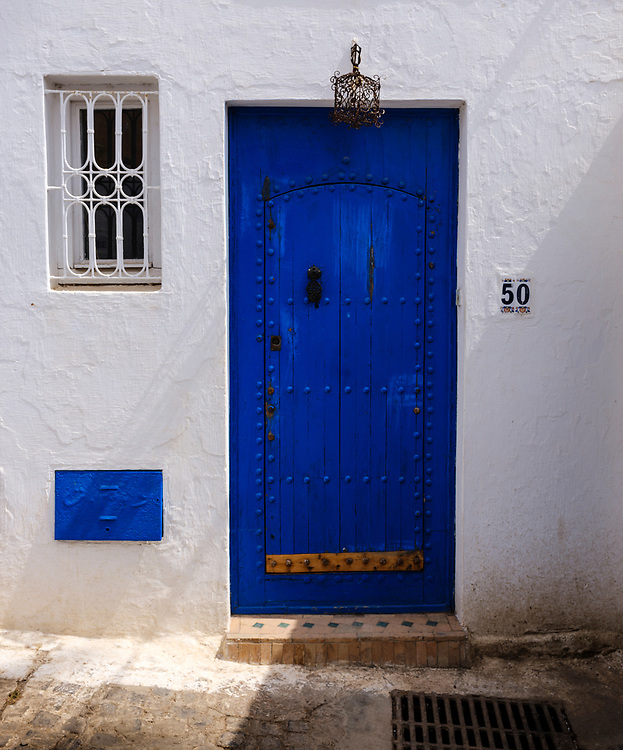 RABAT, MOROCCO - CIRCA APRIL 2017: Door in the Kasbah Oudayas in Rabat