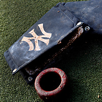 CLEVELAND, OH USA - JULY 6: New York Yankees pine tar and batting ring lay on the on-deck circle before the game between the Cleveland Indians and the New York Yankees at Progressive Field in Cleveland, OH, USA on Wednesday, July 6, 2011.