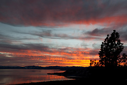 """Sunset at Lake Tahoe 16"" - This orange and yellow sunset at Lake Tahoe was photographed from the vista point on Hwy  431, or Mount Rose Highway."