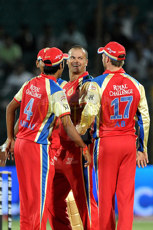 Charl Langeveldt of Royal Challengers Bangalore celebrate a wicket during match 55 of the Indian Premier League ( IPL ) Season 4 between the Rajasthan Royals and the Royal Challengers Bangalore held at the Sawai Mansingh Stadium, Jaipur, Rajasthan, India on 11th May 2011..Photo by Pal Pillai/ BCCI/SPORTZPICS.