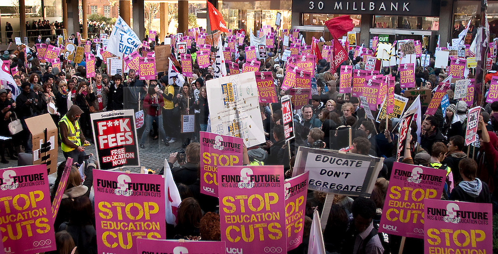 © under license to London News Pictures. 10/11/10. British students take to the streets of Central London to protest over cuts in the educational system.