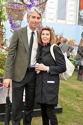 GEORGE LAMB and his mother LINDA MARTIN at the 2015 RHS Chelsea Flower Show at the Royal Hospital Chelsea, London on 18th May 2015.