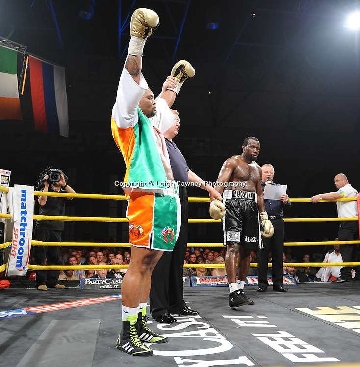 Mike Perez celebrates defeating Kerston Manswell in Quarter Final 1at Prizefighter International on Saturday 7th May 2011. Prizefighter / Matchroom. Photo credit © Leigh Dawney. Alexandra Palace, London.