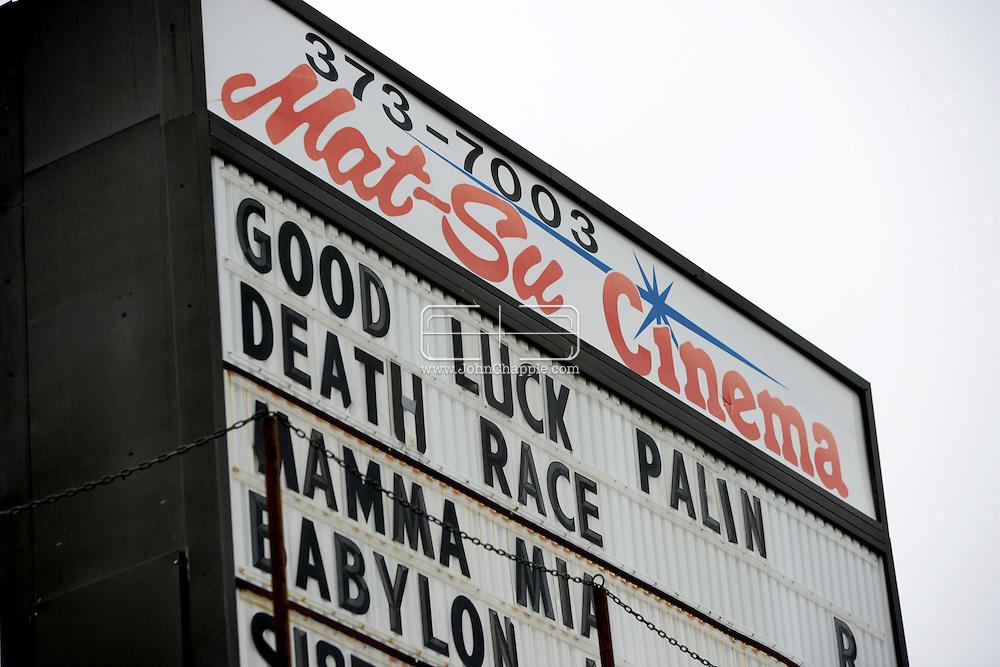 10th September 2008, Wasilla, Alaska. A Cinema sign wishing Alaskan Governor, Sarah Palin luck also advertising the movie Death Race. PHOTO © JOHN CHAPPLE / REBEL IMAGES.tel: +1-310-570-910
