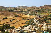 Rural landscape view from Rabat Victoria west towards Gharb, Gozo, Malta