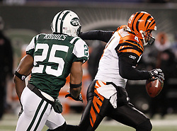 Jan 3, 2010; East Rutherford, NJ, USA; Cincinnati Bengals quarterback J.T. O'Sullivan (4) is sacked by New York Jets safety Kerry Rhodes (25) during the second half at Giants Stadium. The Jets clinched a playoff spot with a 37-0 win over the Bengals.