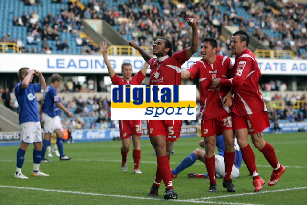 Photo: Rich Eaton.<br /> <br /> Millwall v Swindon Town. Coca Cola League 1. 29/09/2007. Swindon's Jerel Ifil #5 celebrates after heading in a second half goal to make it 2-1.