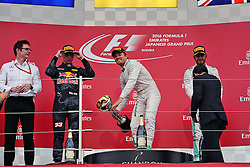 GP von Japan 2016 in Suzuka / 091016<br /> <br /> ***Formula One Grand Prix of Japan on October 9, 2016 in Suzuka.***<br /> <br /> GP von Japan 2016 in Suzuka / 091016<br /> <br /> ***Formula One Grand Prix of Japan on October 9, 2016 in Suzuka.***<br /> <br /> The podium (L to R): Max Verstappen (NLD) Red Bull Racing, second; Nico Rosberg (GER) Mercedes AMG F1, race winner; Lewis Hamilton (GBR) Mercedes AMG F1, third.<br /> 09.10.2016. Formula 1 World Championship, Rd 17, Japanese Grand Prix, Suzuka, Japan, Race Day.<br /> - www.xpbimages.com, EMail: requests@xpbimages.com - copy of publication required for printed pictures. Every used picture is fee-liable. © Copyright: Photo4 / XPB Images