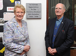 Geraldine Costello and Br. Hugh McKinney former principals at the Convent of Mercy Westport and CBS Primary School Westport attended the Plaque unveiling ceremonies at Scoil Padraig and Rice College Westport marking 150 years since the foundation of the Christian Brothers in Westport.<br /> Pic Conor McKeown