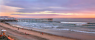 """A Beautiful And Lazy Sunset Over The Truly """"Pacific"""" Ocean On This Evening As Waves Roll Across The Long Wide Beach Near San Diego, California, USA"""