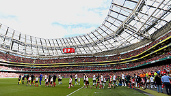 DUBLIN, REPUBLIC OF IRELAND - Saturday, August 5, 2017: The players walk-out before a preseason friendly match between Athletic Club Bilbao and Liverpool at the Aviva Stadium. (Pic by David Rawcliffe/Propaganda)