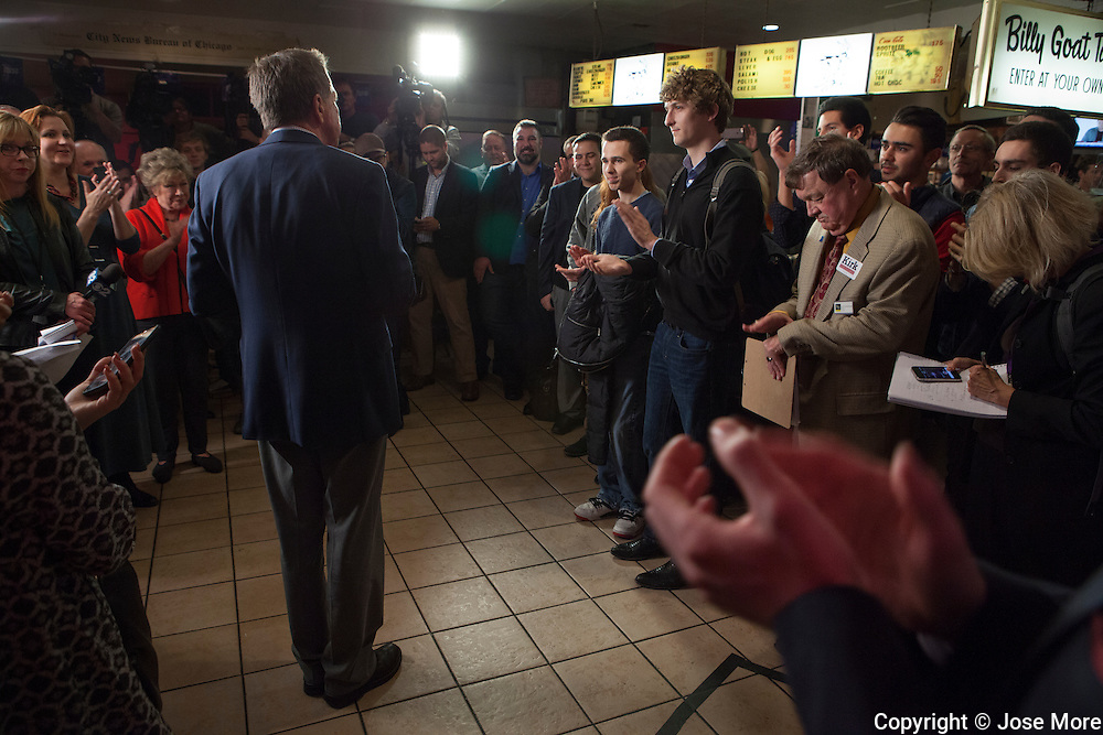 Ohio Governor and Republican presidential candidate John Kasich speaks during a short campaign stop at the Billy Goat Tavern in Chicago on Nov. 9, 2015.  <br /> Photography by Jose More