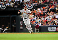 Apr. 17 2011; Phoenix, AZ, USA; San Francisco Giants base runner Aaron Rowand (33) leads off first against the Arizona Diamondbacks at Chase Field. Mandatory Credit: Jennifer Stewart-US PRESSWIRE..