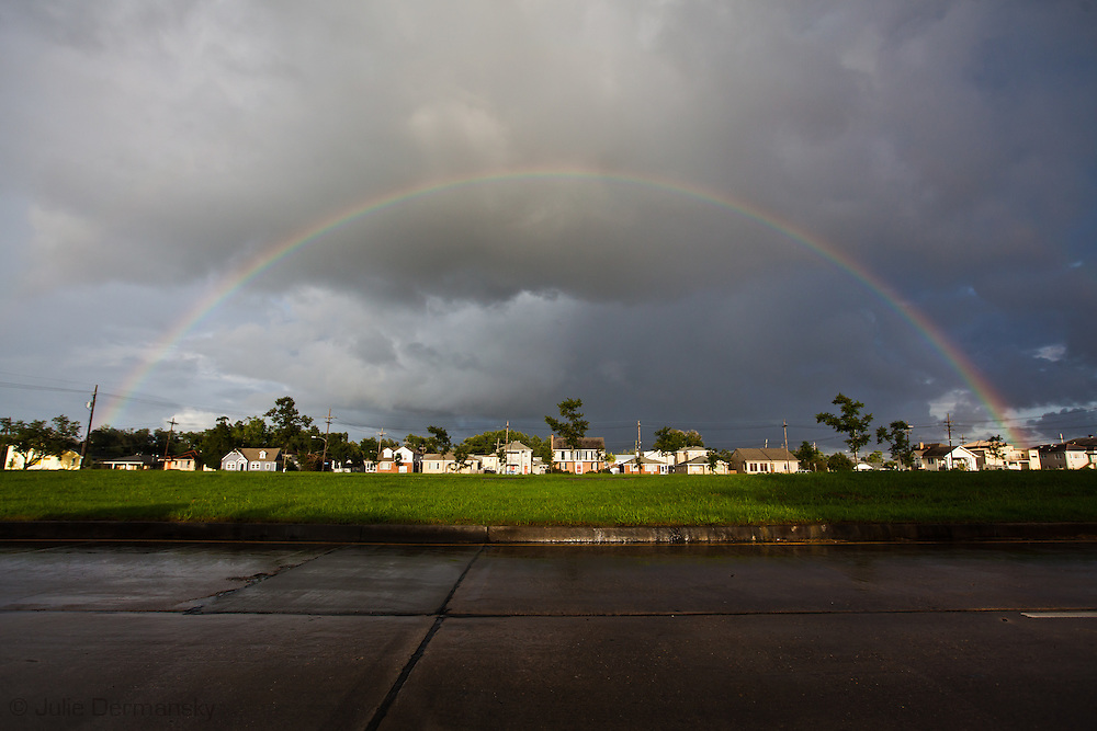 Rainbow in Lakeview an affluent neighborhood in New Orleans near Lake Pontchartain, that was inundated with water after a breach in the 17th Street Canal levy and sustained some of the worse damage from Hurricane Katrina.
