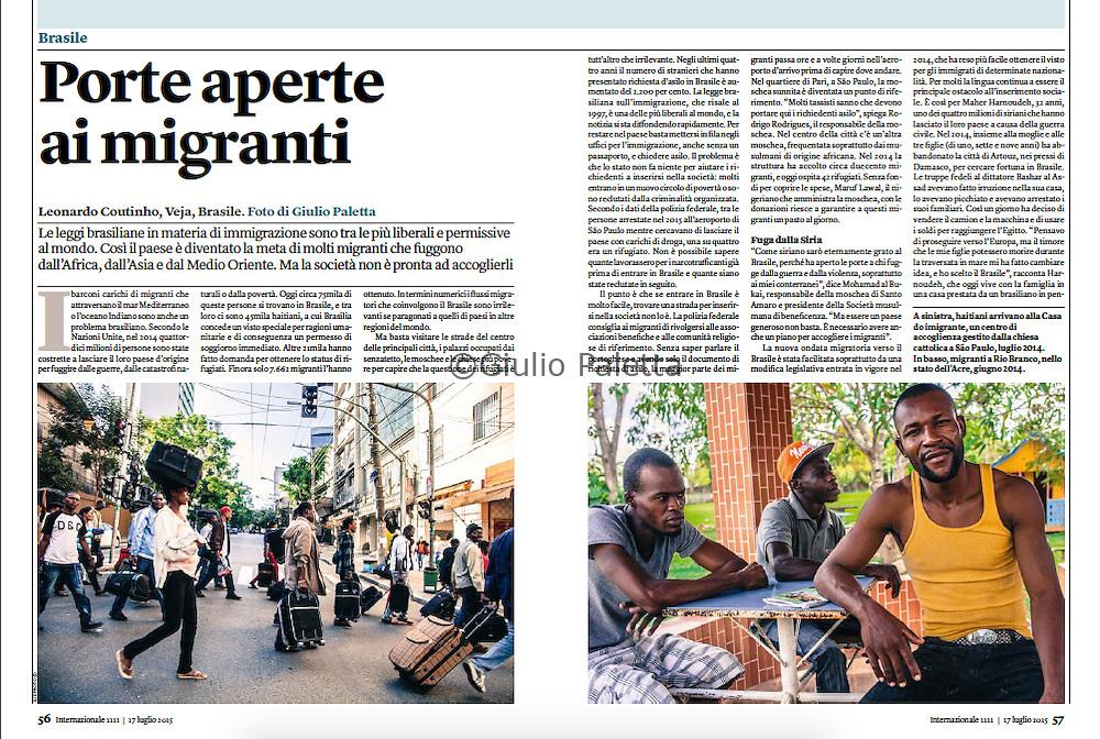 """Brazil: """"Porte aperte ai migranti"""" published in Internazionale magazine, Italy, 17th July 2015"""