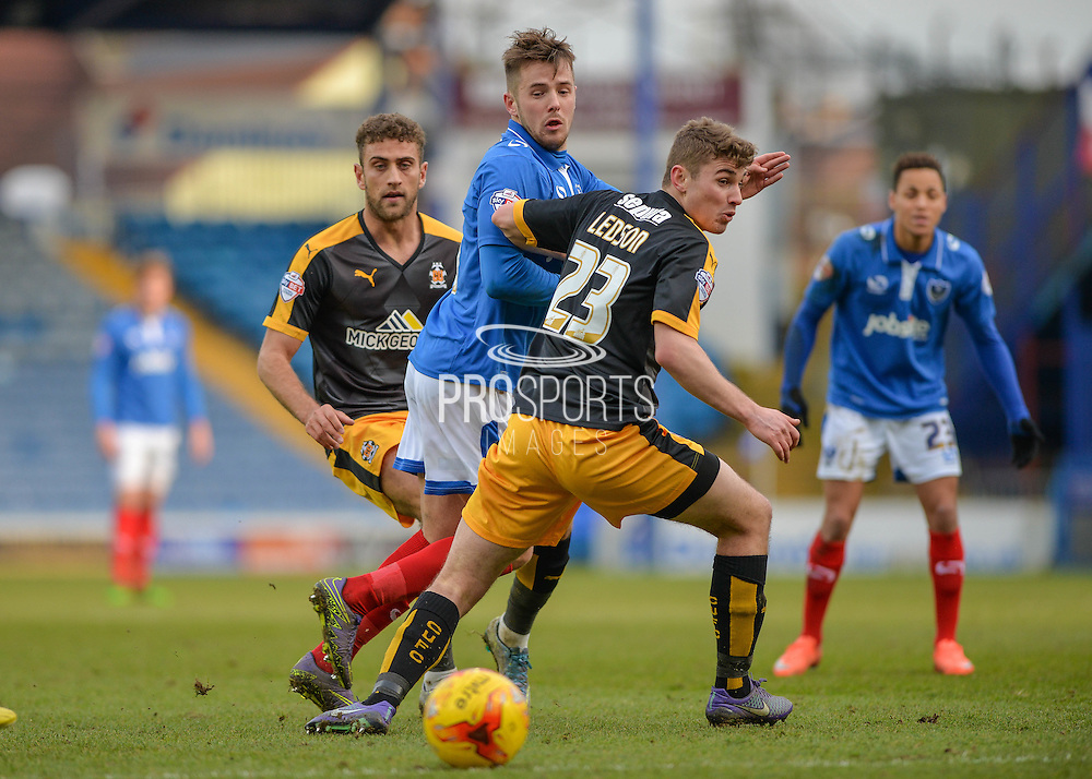 Portsmouth striker Marc McNulty with a through ball during the Sky Bet League 2 match between Portsmouth and Cambridge United at Fratton Park, Portsmouth, England on 27 February 2016. Photo by Adam Rivers.