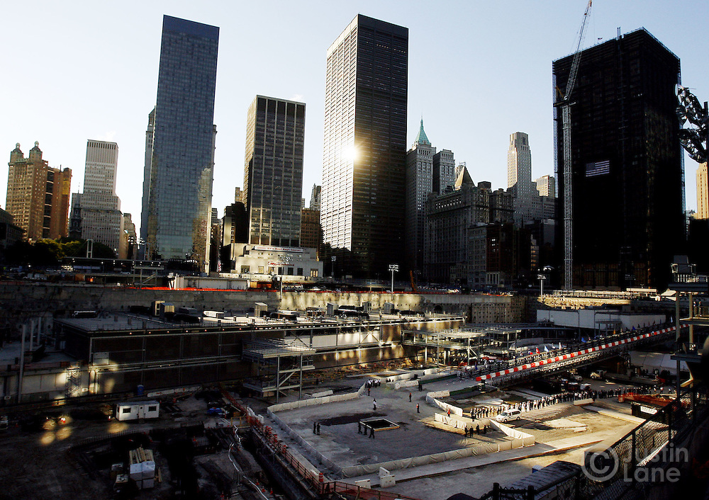 A view of World Trade Center site, including one of two reflecting pools (bottom center) marking the locations of the World Trade Center towers, at the start of the September 11th commemoration ceremony in New York on Monday 11 September 2006. This year marks the five year anniversary of the attacks.