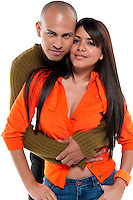 Multiracial couple dating, expression of love, isolated.