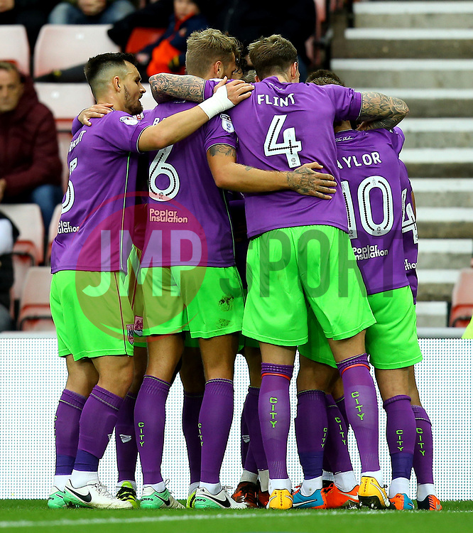 Bristol City celebrate Bobby Reid of Bristol City scoring a goal to make it 1-0 at Sunderland - Mandatory by-line: Robbie Stephenson/JMP - 28/10/2017 - FOOTBALL - Stadium of Light - Sunderland, England - Sunderland v Bristol City - Sky Bet Championship