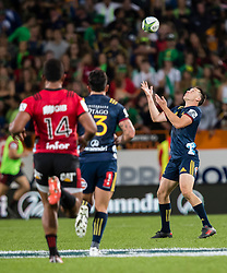 Highlanders' Ben Smith, right, collects the high ball against the Crusaders in the Super Rugby match, Forsyth Barr Stadium, Dunedin, New Zealand, Saturday, March 17, 2018. Credit:SNPA / Adam Binns ** NO ARCHIVING**