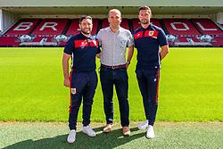 Bristol City manager Lee Johnson, fan Paul Binning (AKA Exiled Robin) and Jamie McAllister - Ryan Hiscott/JMP - 21/06/18 - Ashton Gate Stadium - Bristol, England - Bristol City 2018-19 Fixtures Release Day and Q&A Session