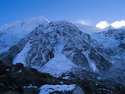 Mt. Sefton, icefalls and talus seen from the Hooker Valley Track, Aoraki/Mt. Cook National Park, New Zealand.