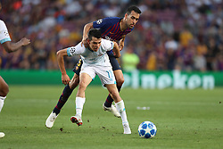 September 18, 2018 - Barcelona, Catalonia, Spain - Sergio Busquets of FC Barcelona duels for the ball with Hirving Lozano of PSV Eindhoven during the UEFA Champions League, Group B football match between FC Barcelona and PSV Eindhoven on September 18, 2018 at Camp Nou stadium in Barcelona, Spain (Credit Image: © Manuel Blondeau via ZUMA Wire)