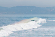 Photo rainbow ocean waves in Manhattan Beach, Californina landscape seascape. Matted print, limited edition. Wall art photography print.