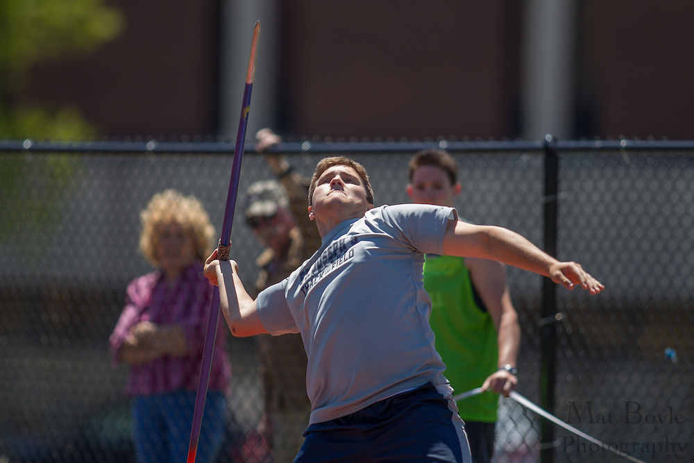 St Joseph's (Long Island) Michael Sanders competes in the men's javelin  at the NJAC Track and Field Championships at Richard Wacker Stadium on the campus of  Rowan University  in Glassboro, NJ on Sunday May 5, 2013. (photo / Mat Boyle)