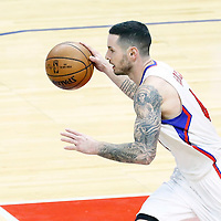 20 December 2016: LA Clippers guard J.J. Redick (4) brings the ball up court during the LA Clippers 119-102 victory over the Denver Nuggets, at the Staples Center, Los Angeles, California, USA.