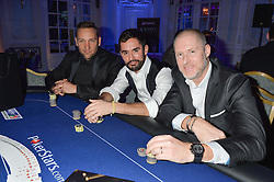 Left to right, DUDLEY NEVILL-SPENCER, JEAN-BERNARD FERNANDEZ VERSINI and JEAN-DAVID MALAT at the Quintessentially Foundation's Poker Night held at The Savoy, London on 13th October 2016.